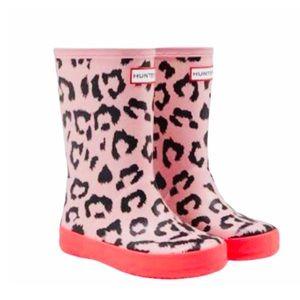 Hunter Rainboots Kids Pink Leopard Print Neon 12